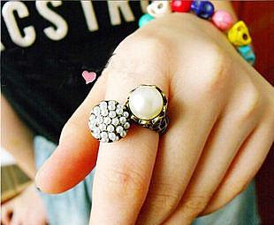圖騰藝術 不對稱珍珠 複古戒指