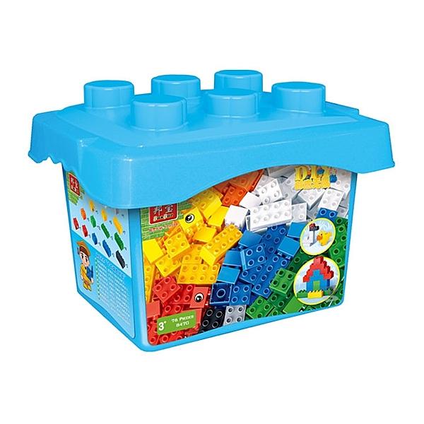 【BanBao 積木】8470 基礎教育系列-大顆粒創意桶76片