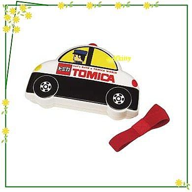 廚房【asdfkitty可愛家】TOMICA小汽車-警車造型便當盒-可微波-有分隔盒-附束帶-日本正版商品