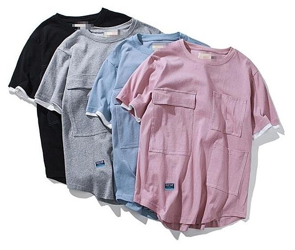日系時尚街頭素面四色多口袋短袖T恤 素面T
