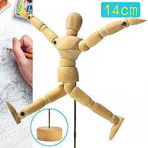 4.5吋關節可動木頭人.14CM素描木製人偶14公分小木偶.關節可活動式木人工具人體模特model模型玩偶