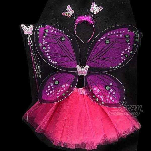 節慶王【W380179】桃紅蝴蝶綠色亮粉翅膀(四件組),萬聖節/化妝舞會/派對道具/兒童變裝/表演