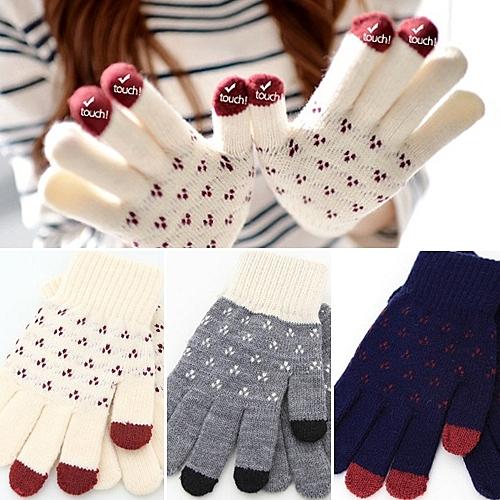 愛心花紋 三指觸控手套 針織手套│單一尺寸│深藍│灰色│白色│j3511