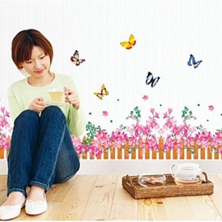 壁貼 DIY創意無痕 牆貼 貼紙【半島良品】-粉色小柵欄_AY756B