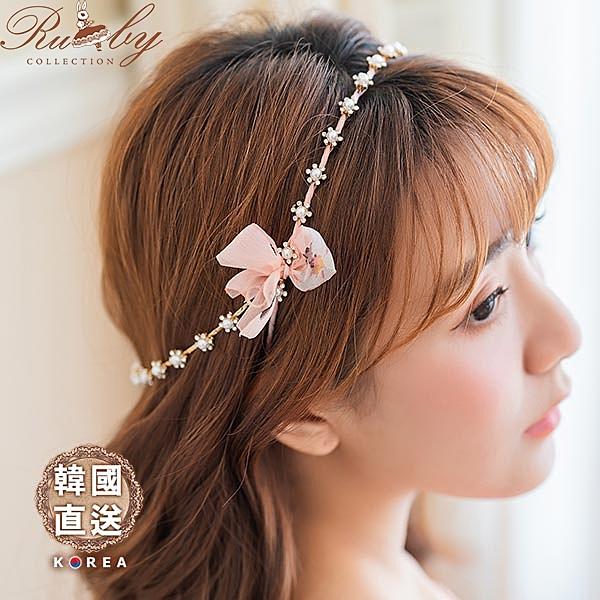 髮飾 韓國直送珍珠水鑽垂墜鍊條印花絲帶蝴蝶結髮箍-Ruby s 露比午茶