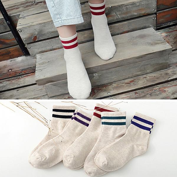 襪子 日韓流行 學院女孩棉質條紋中筒襪 短襪 優質面料 健康舒適 休閒 好搭 【FSW091】123ok