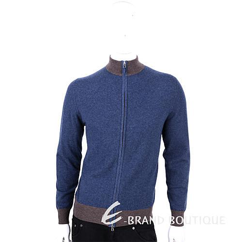 ALLUDE 100% CASHMERE 拼接設計拉鍊外套(藍X咖) 1440548-34