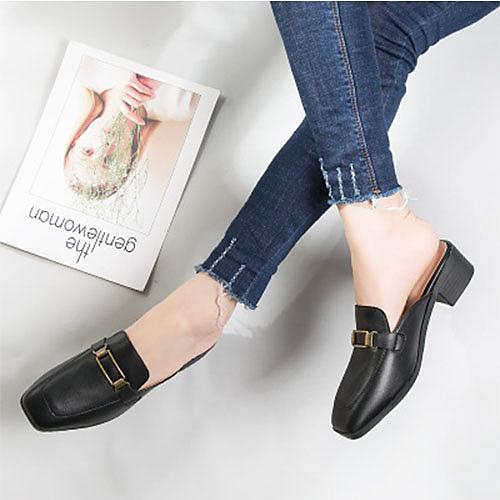 春夏女鞋黑色/白色中跟粗跟英倫漆皮單鞋尖頭小皮鞋黑色【18-555-1-52】【2色34~40】*86精品女人國*