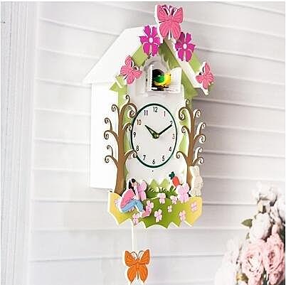 布穀鳥壁掛鐘實木田園客廳掛鐘咕咕鐘創意卡通兒童房小鳥報時鐘錶(953蝴蝶)
