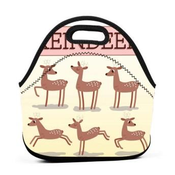 漫画のトナカイのランチバッグ、太い絶縁弁当バッグ、キッド旅行ピクニックオフィス用ジッパークロージャー付きトートボックス