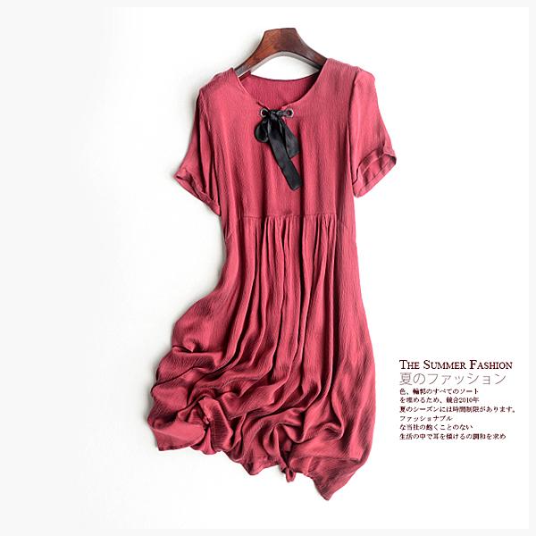 [超豐國際]Z 森女情懷。提花 銅氨絲 天絲混紡 寬松連衣裙