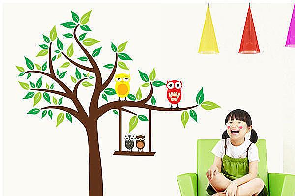 創意可移動壁貼 牆貼 背景貼 時尚組合壁貼樹 璧貼 磁磚貼 貓頭鷹大樹【YV2723】BO雜貨