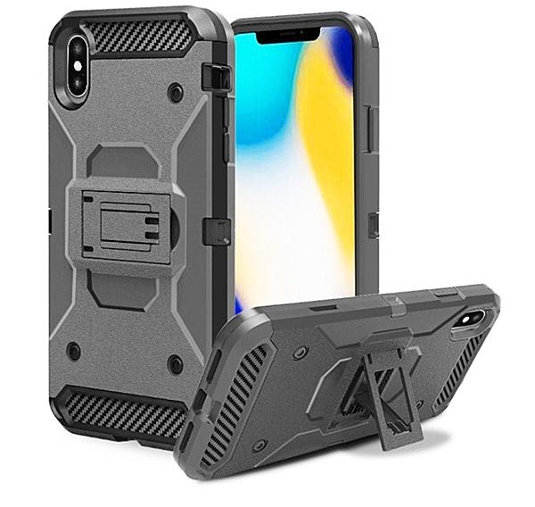 88柑仔店~~iphone XS MAX戶外全包戰士滑套 蘋果6.7.8plus背夾支架鎧甲防摔殼XR