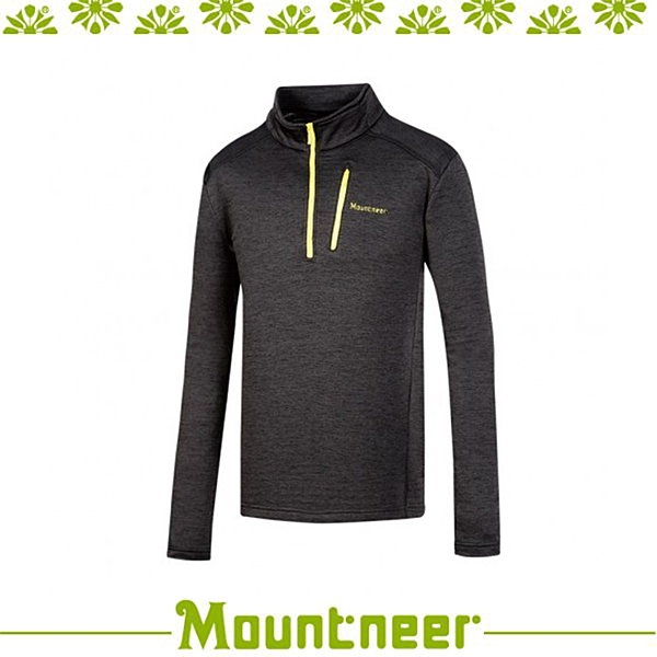 【Mountneer 山林 男雲彩針織保暖衣《黑色》】32P03/高領/長袖/旅遊
