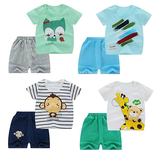 嬰兒短袖套裝 卡通動物 棉質短袖上衣 + 短褲 寶寶童裝 HY10402 好娃娃