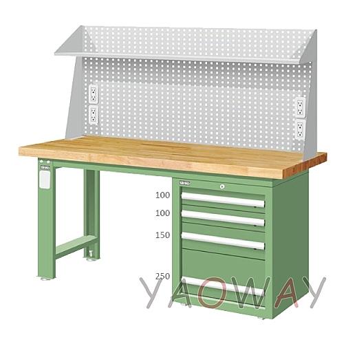 【耀偉】天鋼 單櫃上架組(原木)工作桌WAS-67042W5 (工作台,工業桌,機台桌)