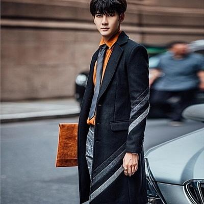 風衣外套-紳士品味時尚翻領長版毛呢男大衣2色73ip36【時尚巴黎】