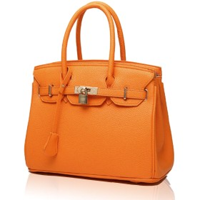[Zeeno Sign 工房] 2way ハンドバッグ レディース 旅行 出張 鞄 軽量 OL ショルダー 斜め掛け (オレンジ, フリーサイズ)