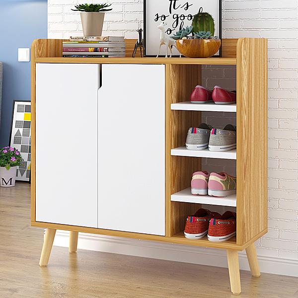 鞋櫃簡約現代門廳櫃簡易門口鞋架經濟型多功能儲物櫃子仿實木組裝xw