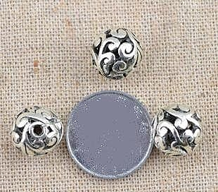 藏銀DIY飾品配件 10mm縷空花球散珠 /特價20個