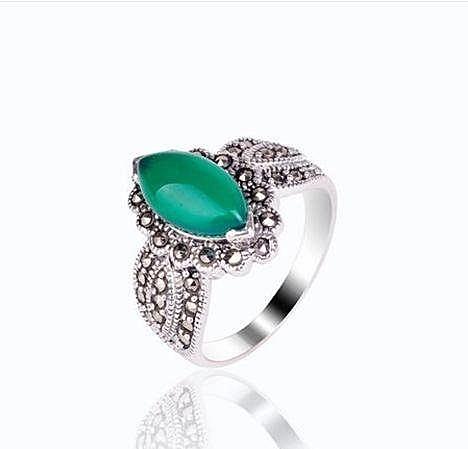 複古銀戒指 鑲嵌貓眼石瑪瑙
