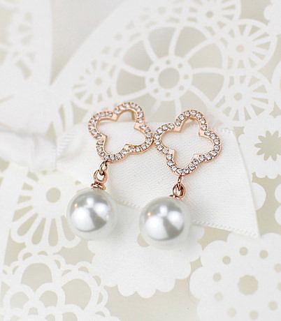 時尚鑲石氣質四葉草珍珠耳釘鍍玫瑰金耳飾禮物轉運飾品