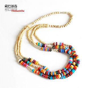 藏飾三層彩色犛牛骨頸鏈