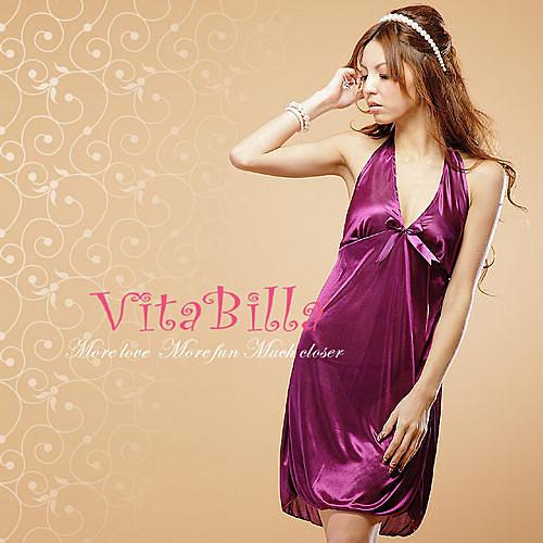 【伊莉婷】VitaBilla 艷紫迷情 LUCKMATE 柔情似水 睡裙+小褲 二件組