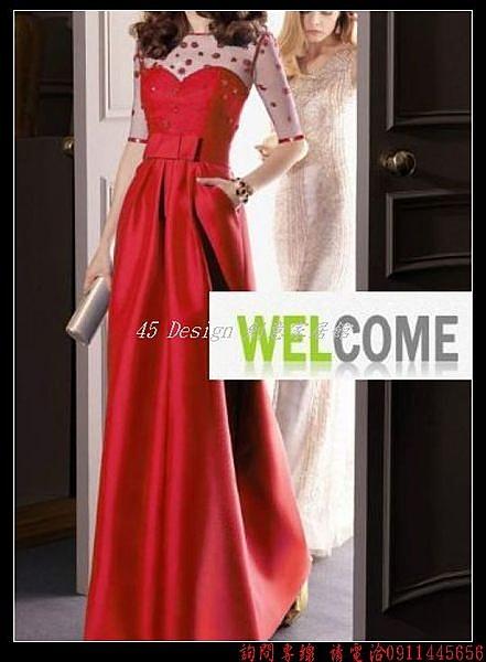 (45 Design)       7天到貨  新娘婚紗禮服中袖長款藍色晚會連衣裙新款女晚裝外貿婚紗禮服