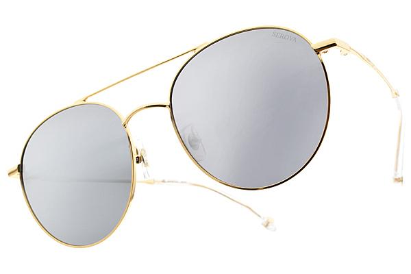 SEROVA 偏光太陽眼鏡 SS9022 C07 ( 金-淡白水銀灰藍鏡片) 時尚飛官圓框款 偏光墨鏡 #金橘眼鏡