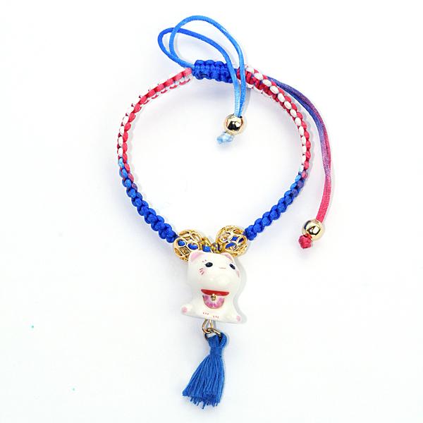 【貓粉選物】幸福貓彩繩手鍊-紅色+藍色+白色 編織手鍊/手環