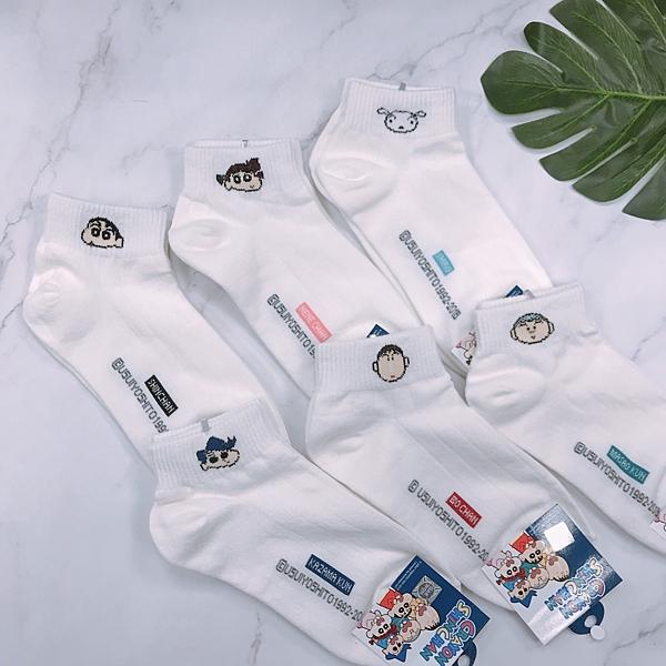 【花想容】韓國襪子 蠟筆小新 妮妮 正男 阿呆 風間 中短襪 學生襪 短襪 白襪