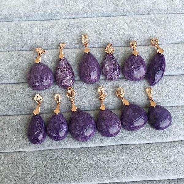 巴西紫龍晶吊墜龍紋紫龍晶水滴女款925銀鍍玫瑰金