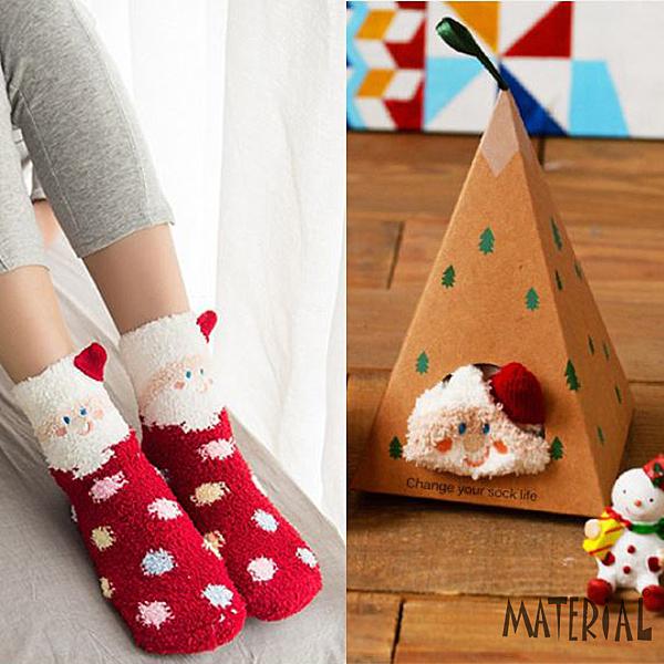 襪子 可愛動物珊瑚絨襪 禮盒裝 MA女鞋 K1025