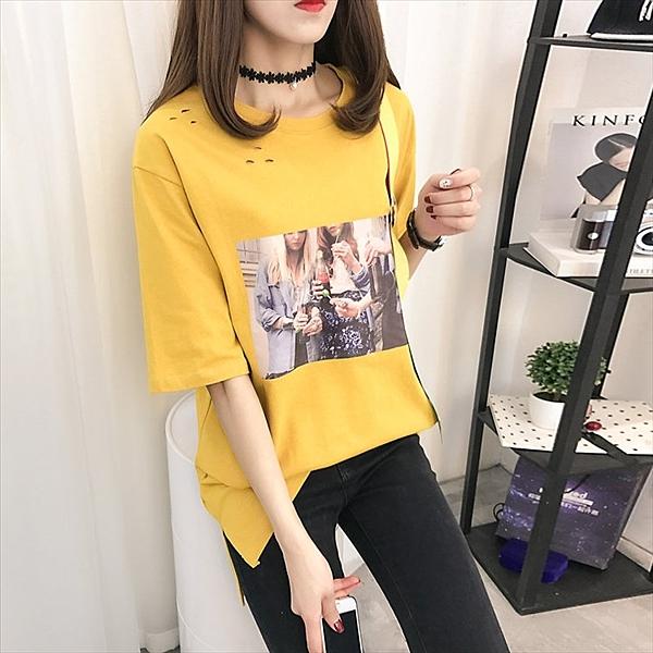 找到自己 G5 韓國時尚 飄帶 寬鬆 破洞 T恤 大碼 中長款 短袖 上衣
