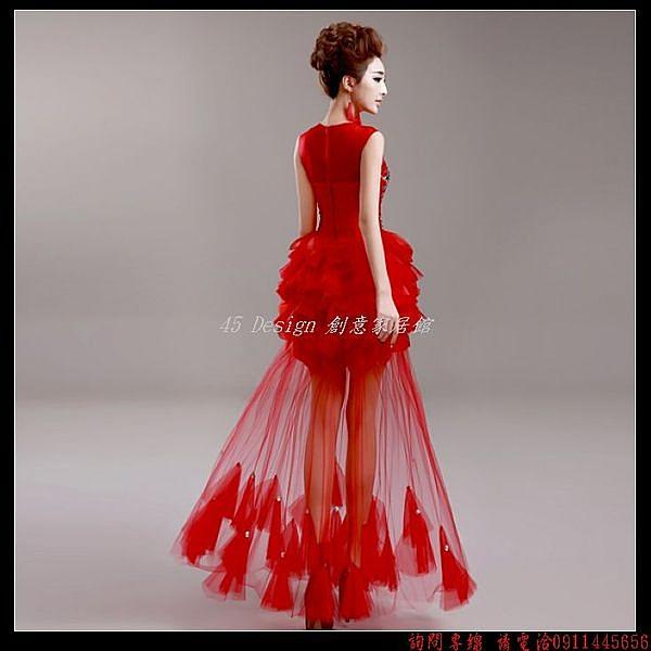 (45 Design) 定製 客製化7天到貨   紅色短袖新娘結婚敬酒服婚禮長款晚裝禮服旗袍