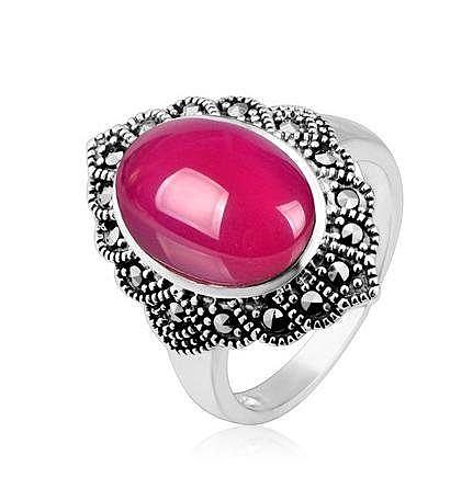 銀紅剛玉銀戒指 潮人時尚飾品新品