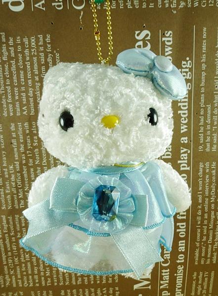 【震撼精品百貨】Hello Kitty 凱蒂貓~HELLO KITTY絨毛吊飾-誕生3月藍晶