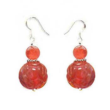 紅瑪瑙蓮花與圓珠純銀耳環