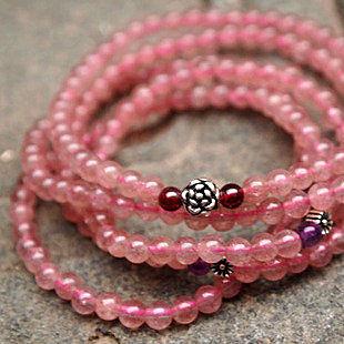 飾品草莓晶多層五圈手鏈薔薇石