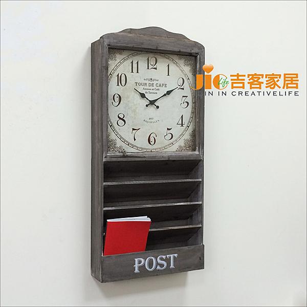 [吉客家居] 家飾 - 四格信插木壁鐘 木造手作風 復古做舊 報架 雜誌架