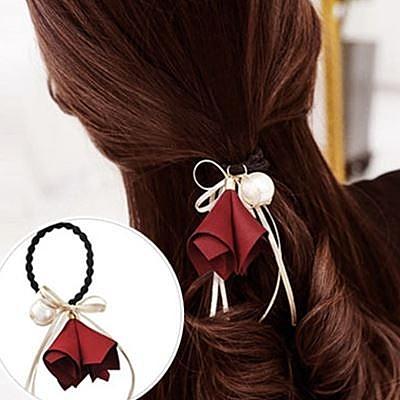 【NiNi Me】韓系髮飾 甜美浪漫花朵蝴蝶結珍珠髮束 髮束H9325