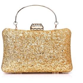 Honana パーティーバッグ レディース 女性のイブニングバッグの結婚式の財布レディースイブニングバッグ 2WAY 二次会 結婚式 披露宴 卒業式 人気 (色 : ゴールド)