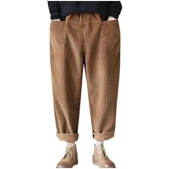 女性ヴィンテージポケットコーデュロイソリッドカジュアルパンツルーズプラスサイズ9ズボン (カーキ色, XXXXXL)