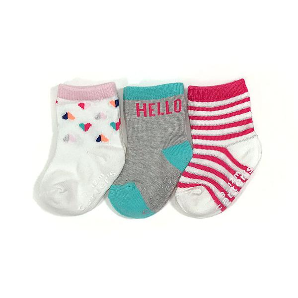 嬰兒襪子 防滑止滑 0-2歲 三件組 條紋小愛心-Carter s卡特 (嬰幼兒/寶寶/兒童/小孩/小朋友)