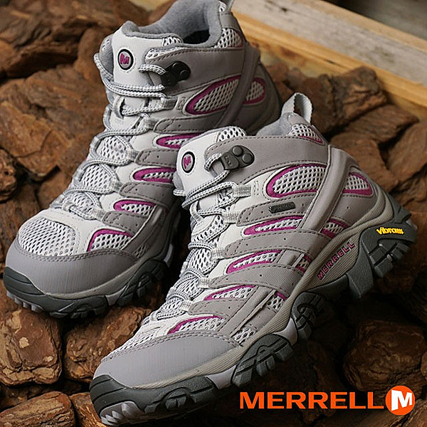MERRELL 美國 MOAB 2 MID 女 GORE-TEX 中筒 防水多功能健行鞋 淺灰/紫 06068 機能鞋/休閒鞋/登山/戶外