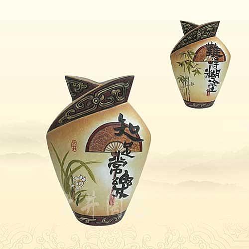 陶藝禮物擺設工藝品新生瓶難得糊塗花瓶裝飾品擺件