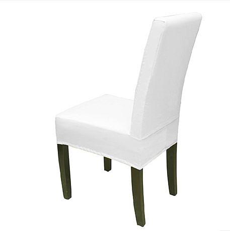 滌棉紗卡 全包連體椅套 餐椅套 專業定做 白-lu44