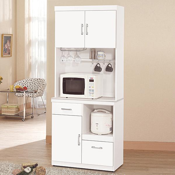 【森可家居】祖迪白色2.7尺單門石面碗碟櫃 (上+下) 10ZX646-4 餐櫃 收納廚房電器櫃 北歐風 MIT