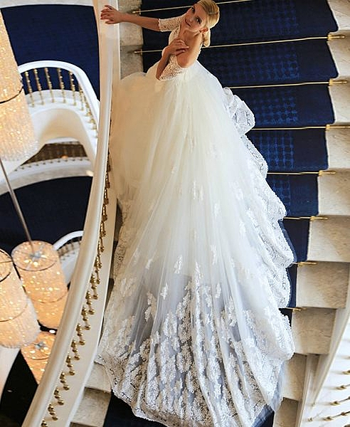 優雅一字肩七分袖蕾絲修身顯瘦新娘長拖尾婚紗-116970013